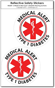 Amazon Com Medical Alert Reflective Decals By Colorsurge For Wheelchairs Car Bumpers Windows Weatherproof Uv Resistant Indoor Outdoor Use Type 1 Diabetes Small 2 Pack Automotive