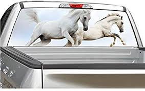 Amazon Com Wild Horses White Rear Window Decal Graphic For Truck Suv 4 Sizes 22 X 66 Automotive