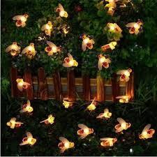 Mega Deal Fa0f71 New Solar Powered Cute Honey Bee Led String Fairy Light 20leds 50leds Bee Outdoor Garden Fence Patio Christmas Garland Lights Cicig Co