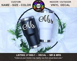 Mr Mrs Cup Decal Etsy