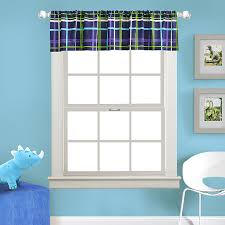 Kas Kids Dino Boy S Room Window Valance Blue Green White Striped Plaid 80x15 80995473430 Ebay