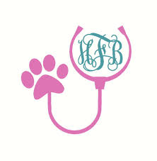 Vet Tech Car Decal Vet Stethoscope Car Decal Veterinary Decal Stethoscope Monogram Decal Paw Print Car Decal Car Mon Car Monogram Decal Vet Tech Monogram Decal
