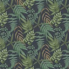 Midsummer Fern by Graham & Brown - Navy - Wallpaper : Wallpaper Direct