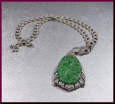diamond necklace vintage jade pendant