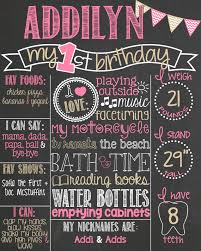1st birthday chalkboard poster best