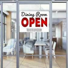 Dining Room Now Open 32 X 24 Perforated Removable Window Decal Ebay