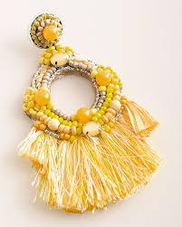 beaded fringe chandelier earrings