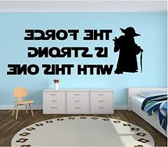 Yoda Quote Wall Decal Kids Room Decor The Force Is Strong With This One Star Wars Themed Vinyl Lettering And Silhouette For Boys Or Girls Bedroom Gameroom Or Playroom Svcst Org