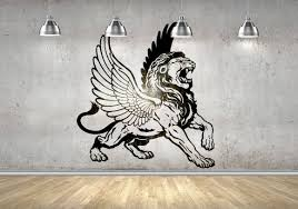 Winged Lion Wall Vinyl Decal Sticker Wings Greek Mythology Griffin Zeus Apollo Eagle Strength Wisdom Decals Stickers