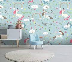 Amazon Com Murwall Kids Wallpaper Cartoon Unicorn Wall Mural For Child Rainbow Wall Art Girls Boys Bedroom Baby Room Play Room Handmade