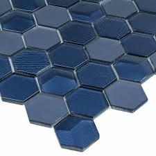 hexagon 2 x 2 glass mosaic tile in