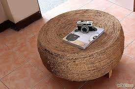 old tire into a pouf or coffee table