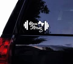 Mom Strong Fitness Barbell Decal Workout Mom Mother Bow Etsy