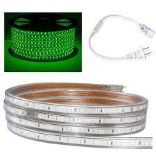 Bộ 10 mét đèn Led dây 5050/220V ánh sáng xanh lá và 1 đầu nối dây nguồn
