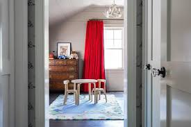 Boys Room With Red Curtains Transitional Boy S Room