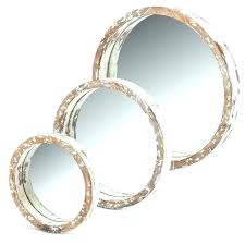 silver circle mirror set 3 piece round