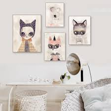 2020 Modern Watercolor Cute Cartoon Animal Art Print Poster Kawaii Cat Fox Nursery Kids Room Pictures Canvas Paintings Home Decor From Lyq669 17 09 Dhgate Com
