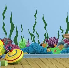 Amazon Com Create A Mural Coral Reef Seaweed Ocean Wall Decals Undersea Decor Stickers For Kids Room 34 Underwater Sea Wall Stickers Boys Girls Toddler Baby Nursery Bedroom Playroom Bathroom Vinyl Art Arts Crafts