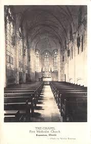 Evanston IL First Methodist Chapel Interior~Wesley Bowman RPPC Postcard  1920s? / HipPostcard