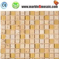 glass and travertine mosaic tiles