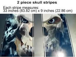 Hood Decals Racing Stripes Skull In Black Fire With Pinstripe 2 Pc Set East Coast Vinyl Werkz