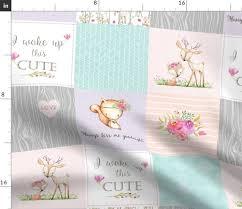 baby girl woodland patchwork quilt top