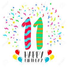 Numero 11 Del Feliz Cumpleanos Tarjeta De Felicitacion Durante