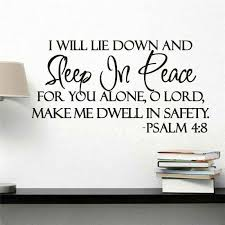 Sleep In Peace Wall Stickers Psalm Bible Verse Wall Decal Quote Vinyl Sticker Inspiration Wall Stickers Aliexpress