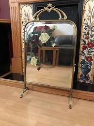 art nouveau french brass beveled mirror