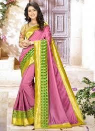 rama color fabric banarasi silk saree