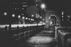 bridge night city lights fog