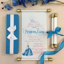 Cinderella Royal Princess Scroll Birthday Invitation In Cinderella