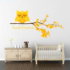 Yellow Sweet Dreams Owl Wall Decal Wall Decal World