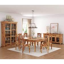 Peoria Rustic Solid Wood 11 Piece Square Dining Room Set