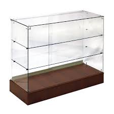 display showcase with glass shelves