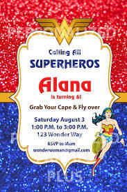 Wonder Woman Birthday Invitation Mujer Maravilla Fiesta