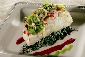 Slow-poached sturgeon with celery and ...