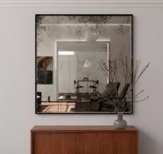 frameless antiqued mirror square