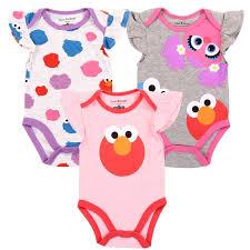 sesame street baby girls 3 piece onesie