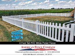 4 Foot Tall Pvc White Picket Fence In Ankeny Iowa American Fence Company Ames Ia