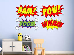 Comic Book Set Of 4 Wall Decal Comic Book Bam Pow Boom Wham Superhero Contemporary Kids Wall Decor By Vwaq Vinyl Wall Art Quotes And Prints