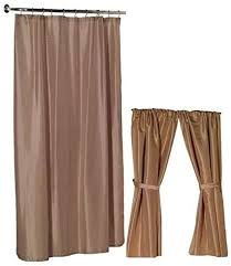 Amazon Com Home Fashions Beige Linen Shower And Window Curtain Set Home Kitchen