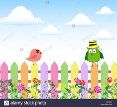 Birds With Bubbles Speech And Garden Fence Nature Stock Vector Image Art Alamy