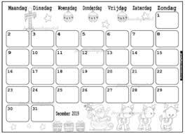 December 2019 Kalender Thema Kleurplaat Kleurplaat Kalender