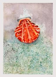 Scallop Shell Painting by Hilda Wagner