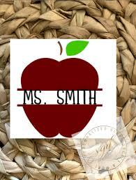 Apple Frame Teacher Monogram Vinyl Decal Personalized Initials For Your Tumbler