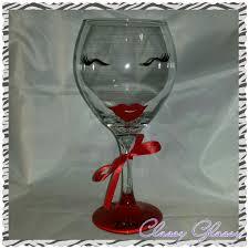 diva girl hand painted wine glass
