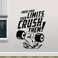 Creative Design Motivational Gym Wall Decal Sport Fitness Quote Vinyl Window Sticker Interior Decor Mural Removable Poster A483 Wall Stickers Aliexpress