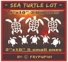 Cool Sea Turtle Lot Family Decal Delux Vinyl By Pup Arrange On Your Car Window Ebay