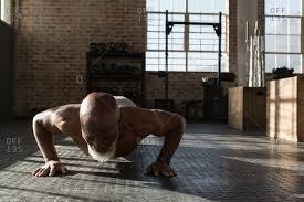 doing push ups in the fitness studio